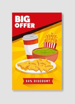 Banner grande oferta de nachos e guacamole com cinquenta por cento de desconto