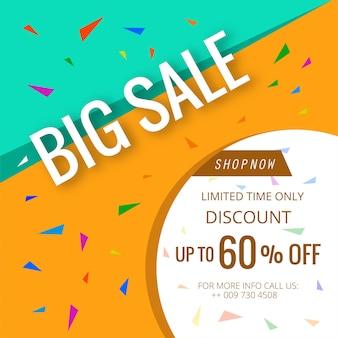 Banner grande venda modelo de cartaz colorido bonito