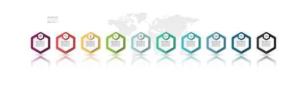Banner hexagonal com mapa-múndi para infográficos