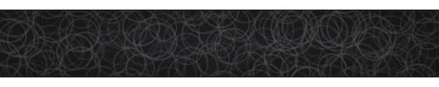 Banner horizontal abstrato de contornos de círculos dispostos aleatoriamente em fundo preto