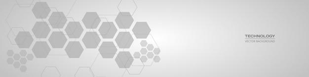 Banner horizontal abstrato hexagonal médico cinza suave