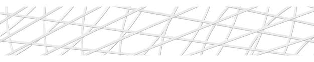 Banner horizontal abstrato ou plano de fundo de linhas que se cruzam nas cores brancas.
