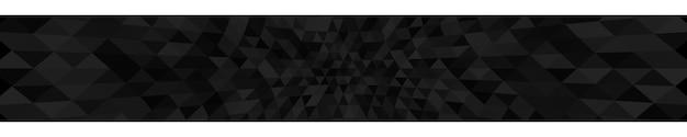 Banner horizontal abstrato ou plano de fundo de pequenos triângulos em cores pretas.