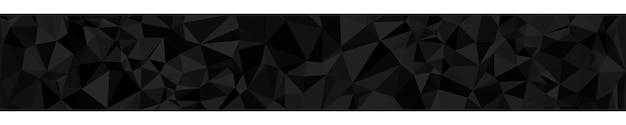Banner horizontal abstrato ou plano de fundo de triângulos em cores pretas.