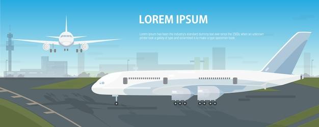 Banner horizontal colorido com aviões estacionados na pista e voando no céu no aeroporto
