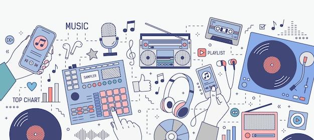 Banner horizontal com as mãos e vários dispositivos para tocar e ouvir música - aplicativo móvel em smartphone, player, boombox, rádio, microfone, fones de ouvido. ilustração vetorial moderna.