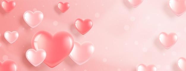 Banner horizontal com balões em forma de coração rosa em um fundo rosa. ilustração romântica para o dia dos namorados e o dia internacional da mulher.
