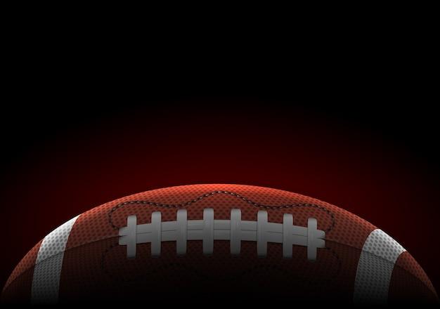 Banner horizontal com bola realista de futebol americano
