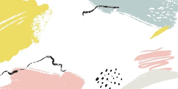 Banner horizontal com copyspace e pinceladas abstratas e marcas de mão. imagem do cabeçalho com lugar para texto.