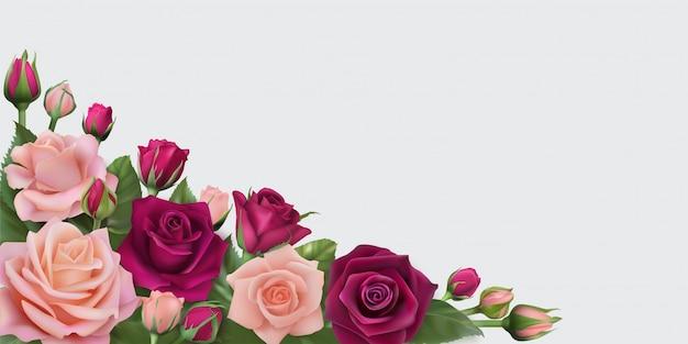 Banner horizontal com delicadas rosas realistas