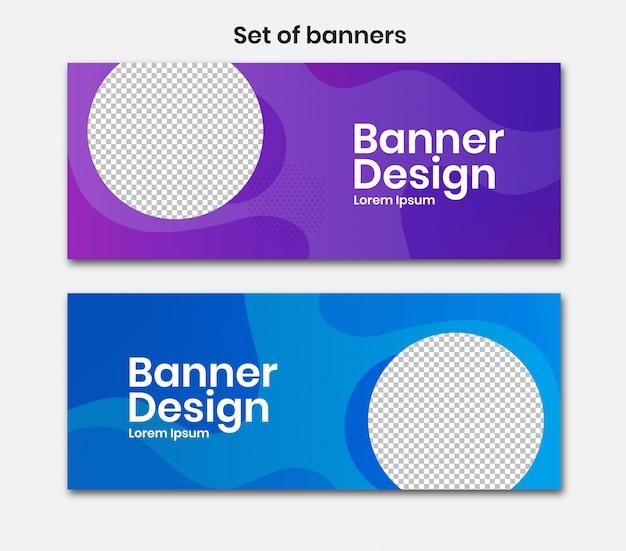 Banner horizontal com desenho de círculo na cor azul e roxa