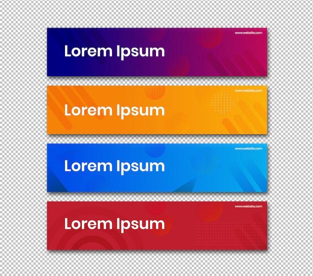 Banner horizontal com design abstrato de cor simples