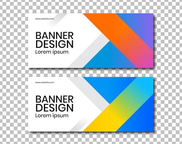 Banner horizontal com design de ângulo