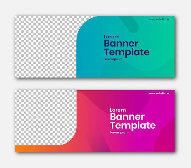 Banner horizontal com design de canto