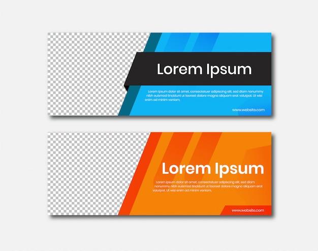 Banner horizontal com design de rótulo
