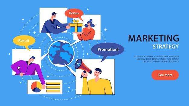 Banner horizontal com etapas de estratégia de marketing e personagens humanos