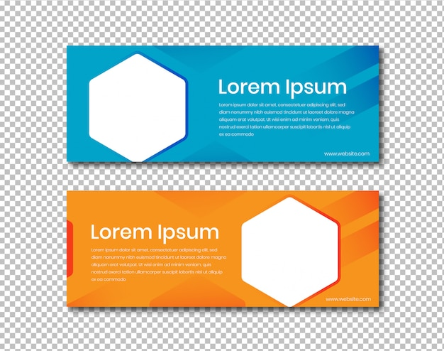 Banner horizontal com formato hexagonal