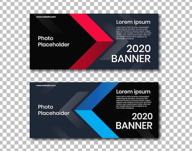Banner horizontal com fundo escuro e design de ângulo vermelho