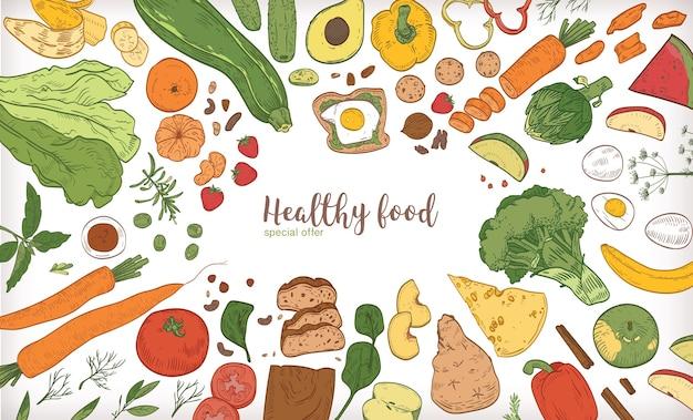 Banner horizontal com moldura consistindo de diferentes alimentos saudáveis ou saudáveis
