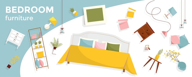 Banner horizontal com muita mobília do quarto e texto a voar. itens de interior - cama, mesinhas de cabeceira, plantas, fotos, travesseiros. conjunto acolhedor de móveis flutuantes.