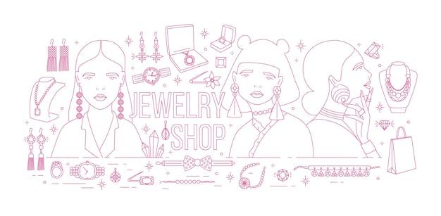 Banner horizontal com mulheres elegantes, usando brincos da moda, rodeados por joias de luxo desenhadas com linhas de contorno rosa sobre fundo branco. ilustração em vetor monocromático para anúncio de loja.