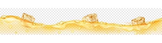Banner horizontal com onda perfeita. cubos de gelo amarelos translúcidos e muitas bolhas de ar flutuando na água em fundo transparente. transparência apenas em formato vetorial