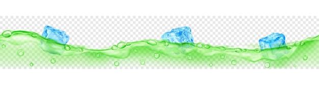 Banner horizontal com onda perfeita. cubos de gelo de azul claro translúcido e muitas bolhas de ar flutuando na água verde sobre fundo transparente. transparência apenas em formato vetorial
