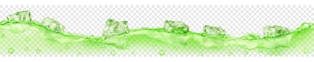 Banner horizontal com onda perfeita. cubos de gelo verdes translúcidos e muitas bolhas de ar flutuando na água em fundo transparente. transparência apenas em formato vetorial