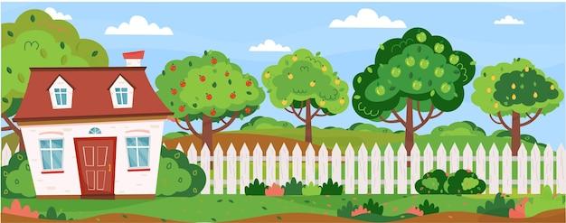 Banner horizontal com paisagem campestre de verão casa de campo com horta, macieiras, pereiras