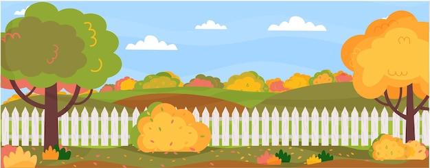 Banner horizontal com paisagem de outono fazenda no quintal do jardim no outono árvores arbustos grama