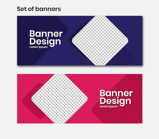 Banner horizontal com quadrado em azul e rosa