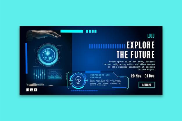 Banner horizontal com tecnologia futurista