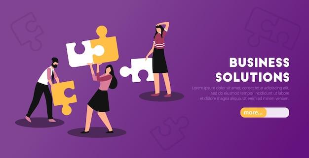 Banner horizontal da web de soluções analíticas de negócios com montagem de quebra-cabeça e ilustração pessoal