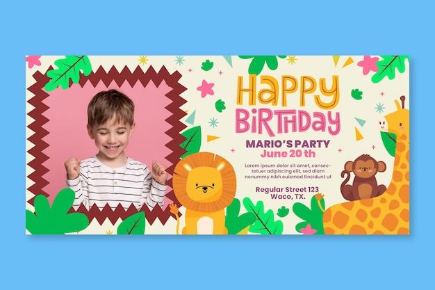 Banner horizontal de aniversário infantil