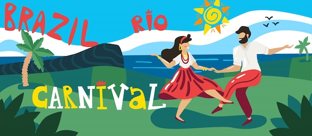 Banner horizontal de carnaval do brasil com dançarinos em trajes nacionais ao ar livre com a estátua de cristo