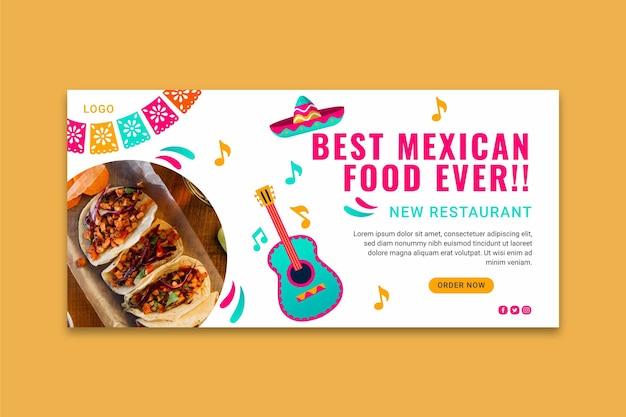 Banner horizontal de comida mexicana deliciosa