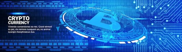 Banner horizontal de conceito de negociação de moeda criptografada