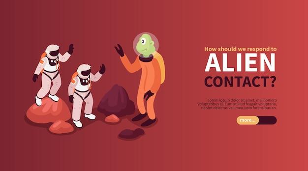 Banner horizontal de contato alienígena com astronautas saudando amigável criatura alienígena em planeta desconhecido