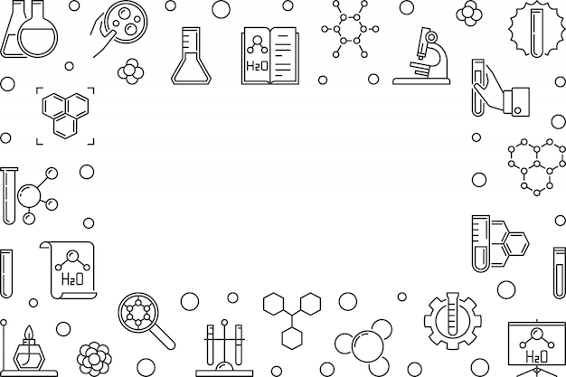 Banner horizontal de contorno de química com espaço vazio