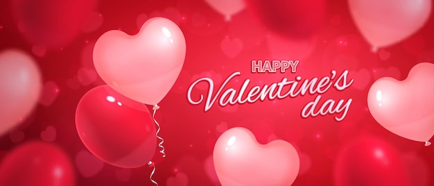 Banner horizontal de corações de dia dos namorados com balões realistas e corações borrados