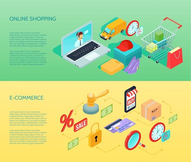 Banner horizontal de ecommerce comercial isométrica definida com ilustração vetorial de descrições de compras e comércio eletrônico on-line