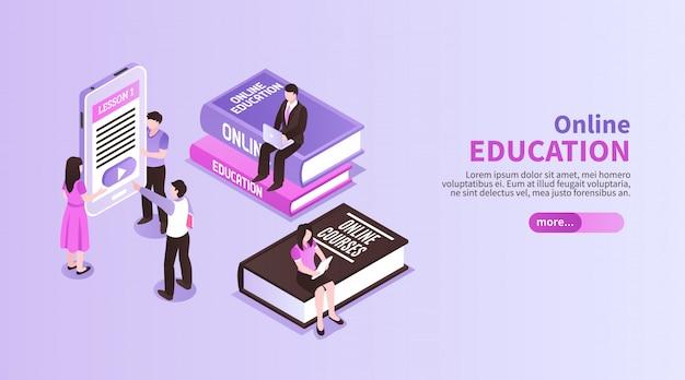 Banner horizontal de educação on-line com figuras de pessoas pequenas, sentado em grandes tutoriais, promovendo o estudo à distância isométrico