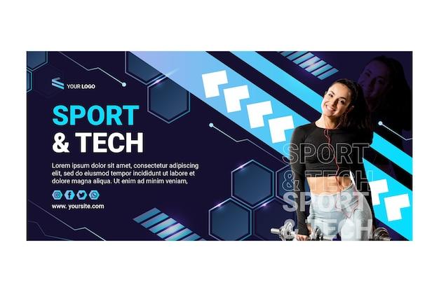 Banner horizontal de esporte e tecnologia