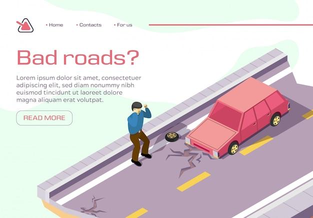 Banner horizontal de estrada ruim, carro preso em pavimento quebrado