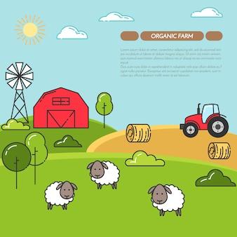 Banner horizontal de fazenda. fazenda paisagem com celeiro, trator, ovelhas.