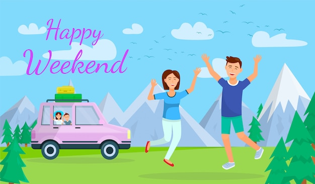 Banner horizontal de feliz fim de semana