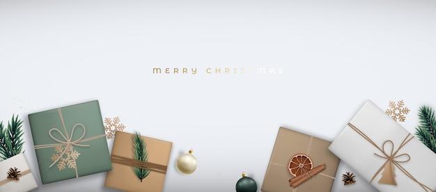 Banner horizontal de feliz natal com caixas de presente