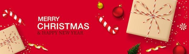 Banner horizontal de feliz natal e ano novo.