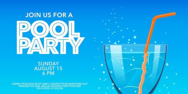 Banner horizontal de festa na piscina com copo. convite para festa de verão