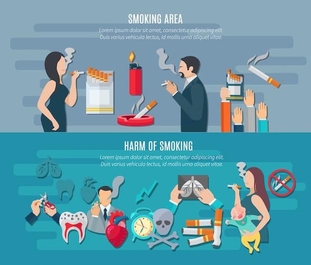 Banner horizontal de fumar conjunto com elementos de risco de dependência